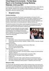 Virtual Research Environments – The Next Steps Report on the Knowledge Exchange Workshop